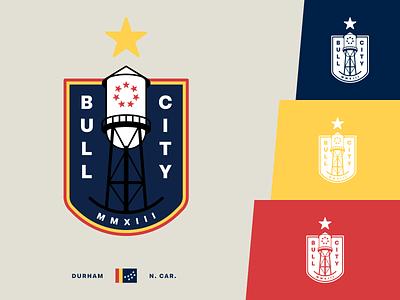 The Bull City Football Boys north carolina durham shield logo design sports flat star crest fantasy football
