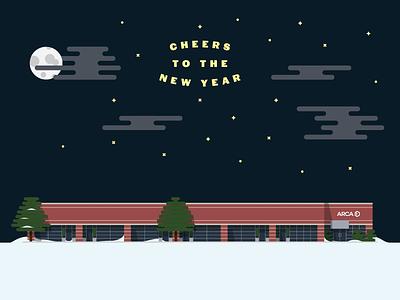 A Cold Winter Night holiday card new year holiday snow night moon stars building illustration north carolina flat