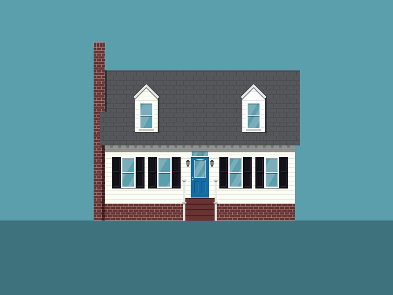 House in the Woods vector house illustration north carolina flat