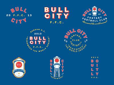 BCFFC x8 north carolina durham branding fantasy football design building star logo crest circles blue illustration badge type flat