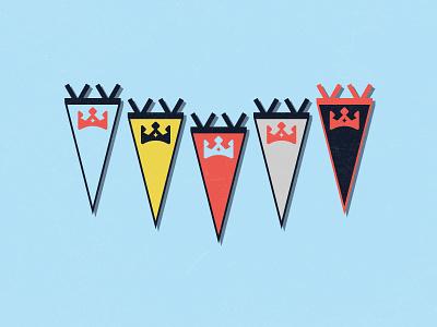 On the wall pennants branding star palette fantasy football crown banner design vector logo blue illustration flat