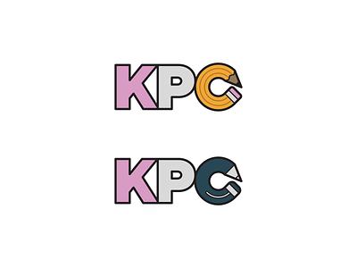 KPC design logo flat yellow blue grey pink type illustration