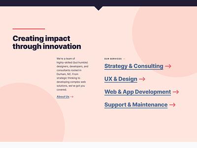 Impact Through Innovation composition layout ui branding circles flat mockup type figma web design