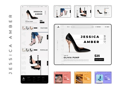 Jessica Amber Footwear Website Concept footwear footwear website footwear design website design web design typography brand icon website web ux ui logo branding design