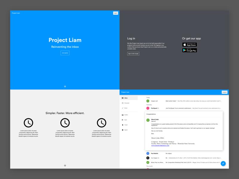 Project Liam inbox email mail ux design website web ui modern