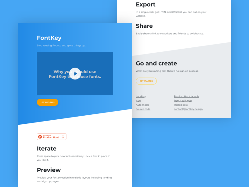 FontKey Landing Page website web ui modern landing page homepage design