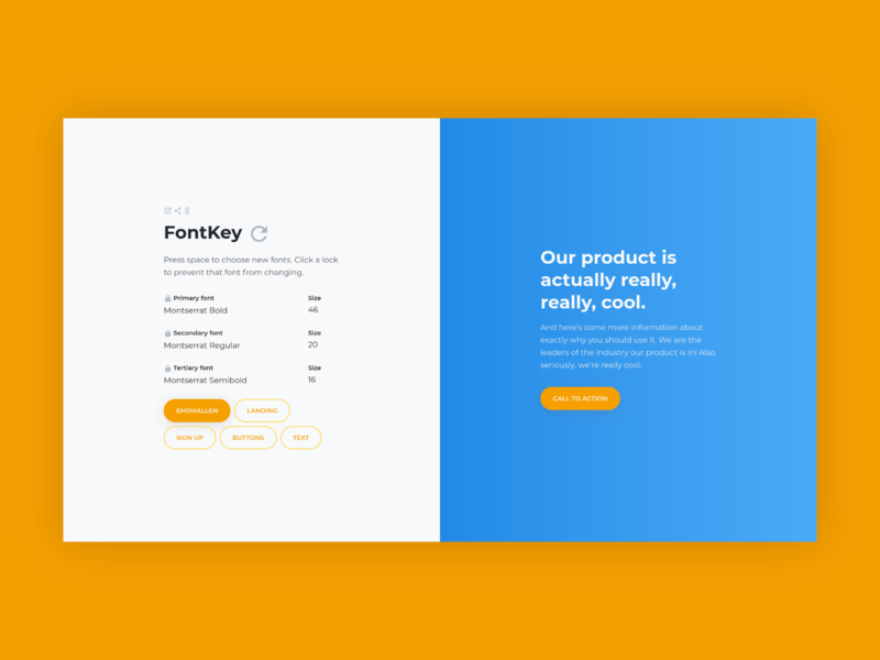 FontKey Main Interface website web modern ui dashboard design