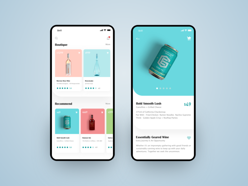 wine app ios cark rose wine fillet price shopping drink recoommed boutique commodity white iphonex blue wine bar wine icon app design ux ui