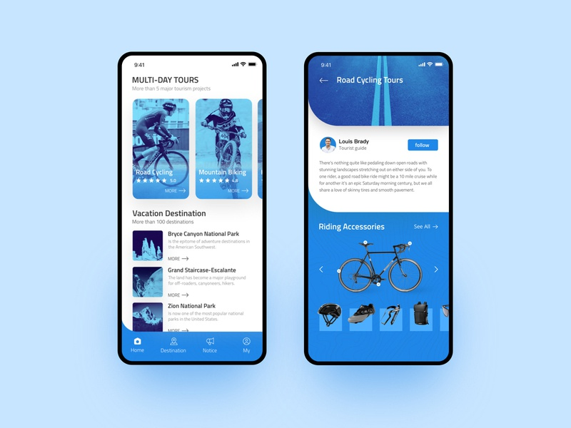 Outdoor travel app app design ux ui tourism projects national park card sunglasses backpack shoes helmet bicycle blue riding accessories multi-day tours vacation destination mountain biking travel road cycling