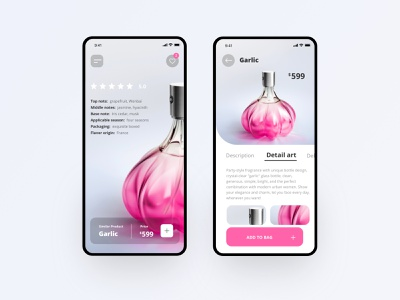 Perfume app delivery method detail art shopping price add to bag description flavor origin packaging applicable season base note middle notes top note fish garlic card design ui perfume