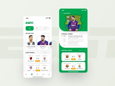 ESPN Sports App Score Page ux ui app card design cristiano ronaldo lionel messi event review personal hnonor previous events information tunisian cup time soccer basketball american football video score sportswear