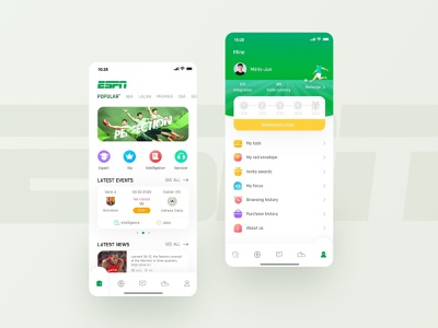 ESPN Sports App Home And Mine Page task red envelope intelligence servicer latest events vip expert latest news sportswear score video american football basketball soccer time information lionel messi cristiano ronaldo card app