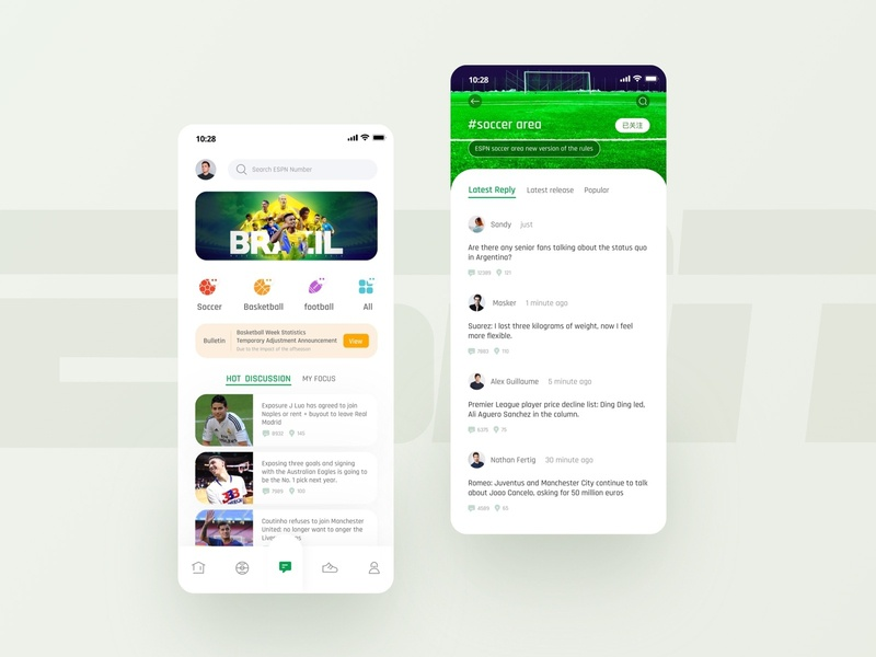 ESPN Sports App Community Page j luo focus lastest reply soccer area view popular hot  discussion sportswear score video basketball soccer time tunisian cup cristiano ronaldo design card app ui ux