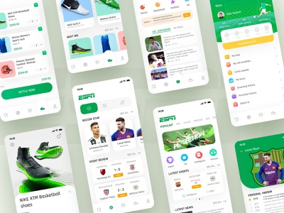 ESPN Sports App Total Collection shop sports flat design sportswear score american football basketball soccer time tunisian cup previous events personal hnonor event review lionel messi cristiano ronaldo design card app ui ux