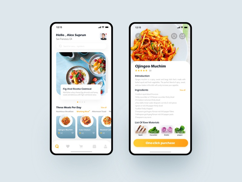 Circle Of Dining App Design mall shopping cart collection introduction list ingredients app ux ui foody food meal night snack afternoon teaal working meal nutritious breakfast
