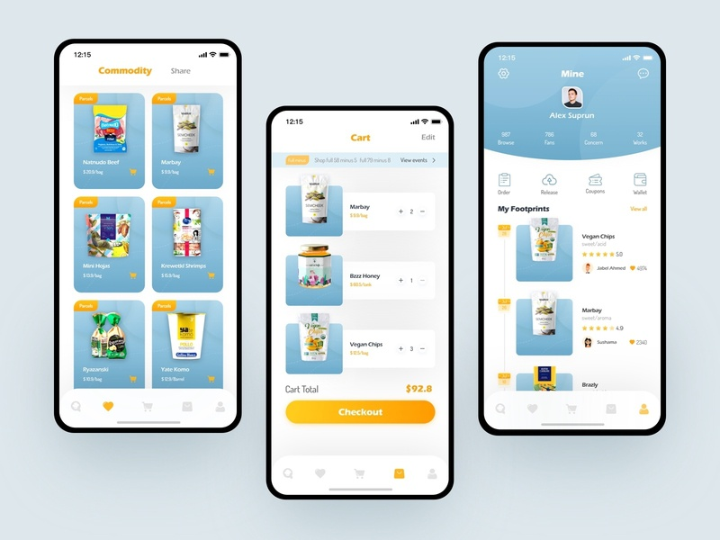 Circle Of Dining App Design Series Three shop shopping cart app shopping card ui food app mall clean collection mine footprint price release order wallet foody share commodity cart