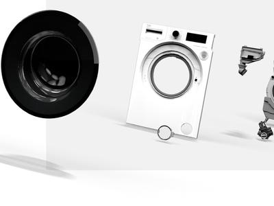 Premium Line axonometric 3D modeling washing machine ui animation interaction render 3d art 3d animation modeling 3d