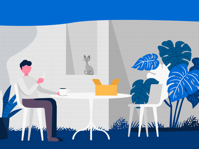 FAN Courier - video app presentation vector man cat character flat interaction motion graphics animation 2d design illustration