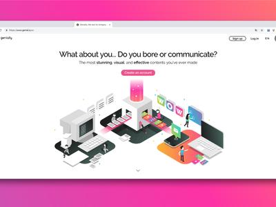 Web Genially website logo web gradient color vector illustration design branding