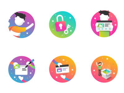 Mailing Genially character mailing website logo web gradient color vector illustration design branding