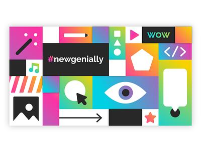 Genially new features flat ux typography icon genius website color illustration design branding artdirection startup web gradient digital pattern mosaic vector genially