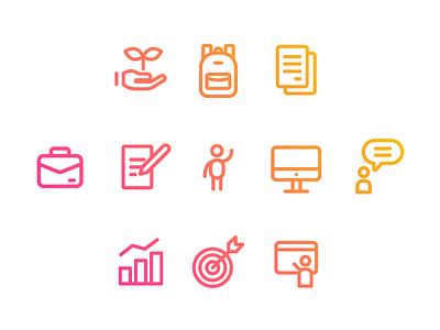 Onboarding Icons genially ui digital icon web gradient color vector illustration design branding