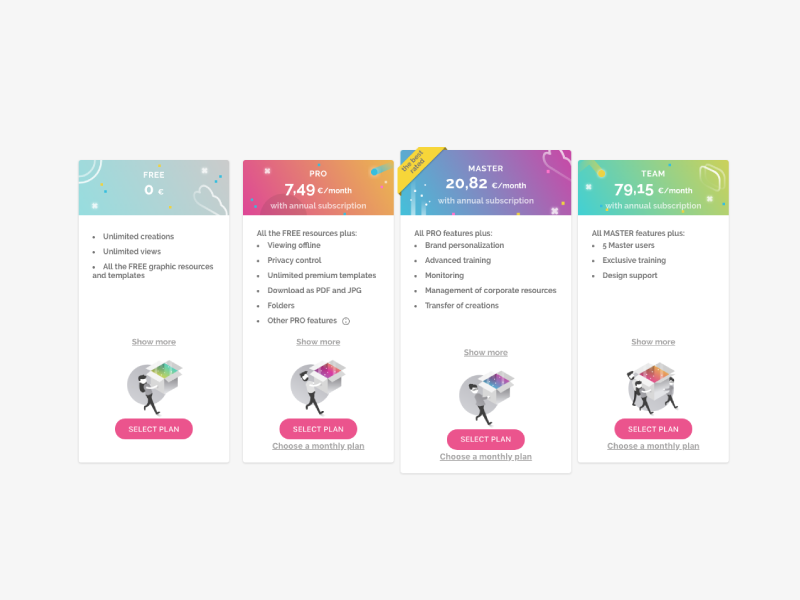 Genially pricing Design & Illustration ux app typography ui artdirection genially digital icon website web gradient color vector illustration design branding