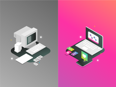 Boring VS amazing content app ux ui artdirection genially digital website web gradient color vector illustration design branding