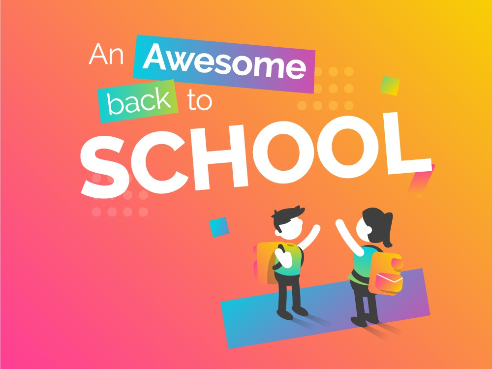 Back to school - email illustration artdirection genially digital website web gradient color vector illustration design branding