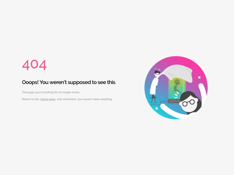 Genially 404 screen design notfound error 404 flat artdirection genially digital website web gradient color vector illustration design branding