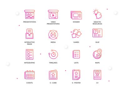 Genially Icons - Categories type typography genius app ui artdirection icon genially digital website web gradient color vector illustration design branding