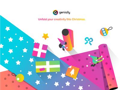 Unfold your creativity this Christmas ui icon artdirection digital website web gradient color vector illustration design branding genially