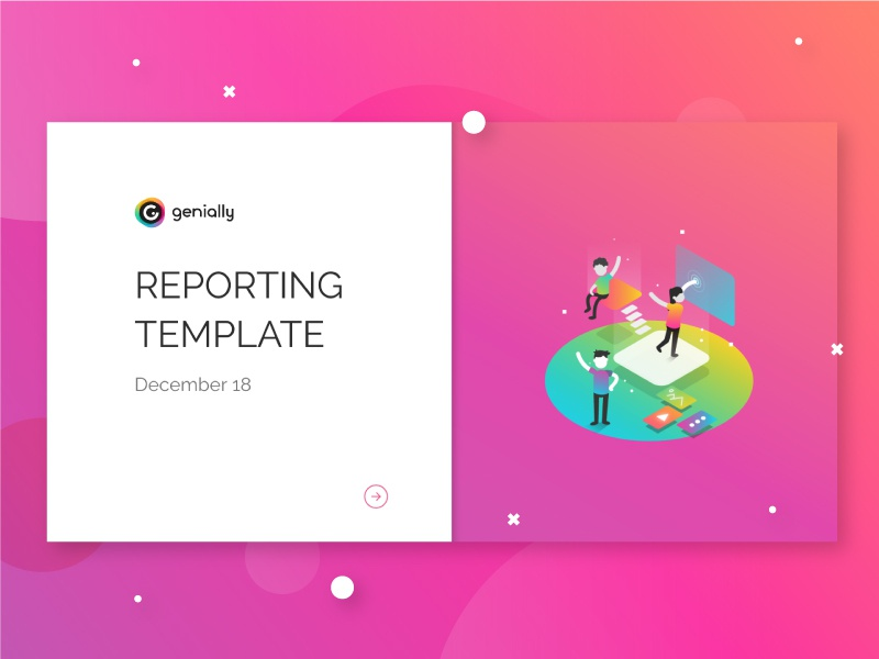 Genially Reporting template design artdirection genially digital website web gradient color vector illustration design branding