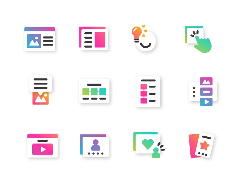 New Genially categories - icon design art direction flat typography app ux logo genius ui icon artdirection genially digital website web gradient color vector illustration design branding