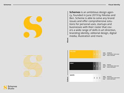 Schemes Studio - Visual Identity logo design s logo s letter modern clean schemes illustration agency studio visual identity monogram logo branding