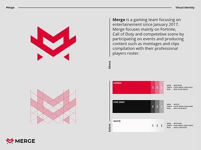 Merge Team - Visual Identity visual entertainment gaming merge team m letter m letter monogram modern logodesign logo identity branding