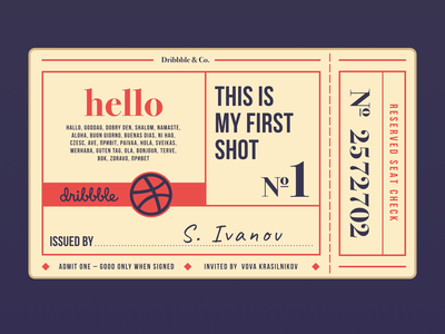 Hello, Dribbble players. ticket vintage debute design typogaphy hellodribbble