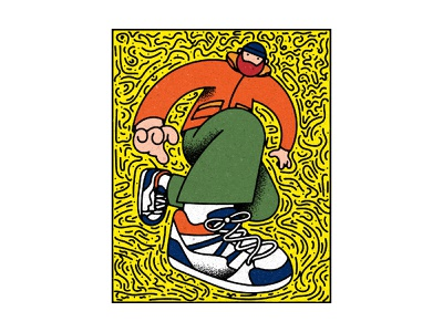 New Sneakies cool design person trainers fashion streetwear yellows thick lines thick line adobe photoshop keith haring adobe illustrator texture digital illustration sneaker illustration sneakerhead sneakers sneaker illustrator