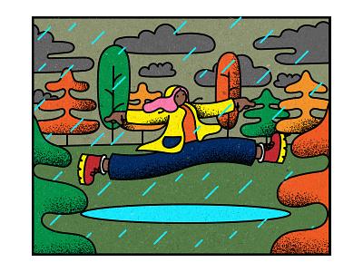 Rainy Yay rain autumn adobe photoshop bright color texture vector illustration adobeillustrator illustration
