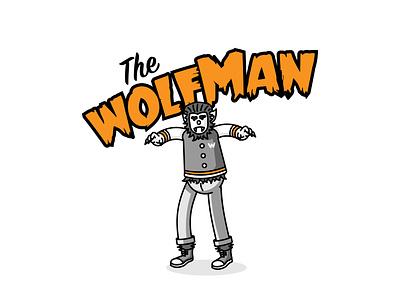 The Wolfman halloween autumn groovy illustrator bright color vector illustration vector procreate ipadpro adobeillustrator illustration