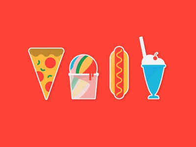 George's // Icons summer ice cream float hot dog water ice pizza illustrations icons