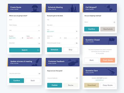 Quotation Process Cards - Kortex interactive design illustrations taskmanagement uxflow pirate application uiux minimalism uxresearch