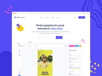 Landing page for graphic editor vector website branding ux web landing ui minimal flat design
