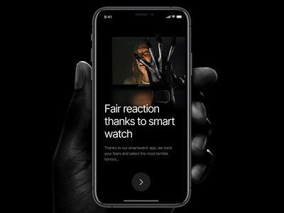 Onboarding for 👻 Horror movie rating app greyscale grey black dark learning app onboarding motion figma branding app application flat design ux minimal ui