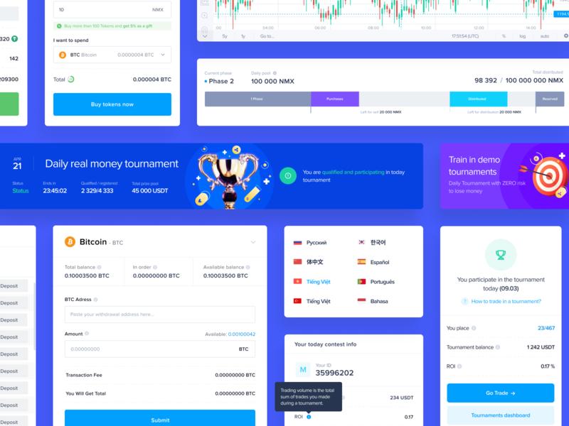 UI Elements for cryptocurrency platform elements ui kit web app cryptocurrency crypto saas platform website web ux ui