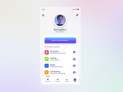 Application for automating smm service with microinteraction app design clean ui microinteraction ux ui after effects aftereffects motion app product app product design product