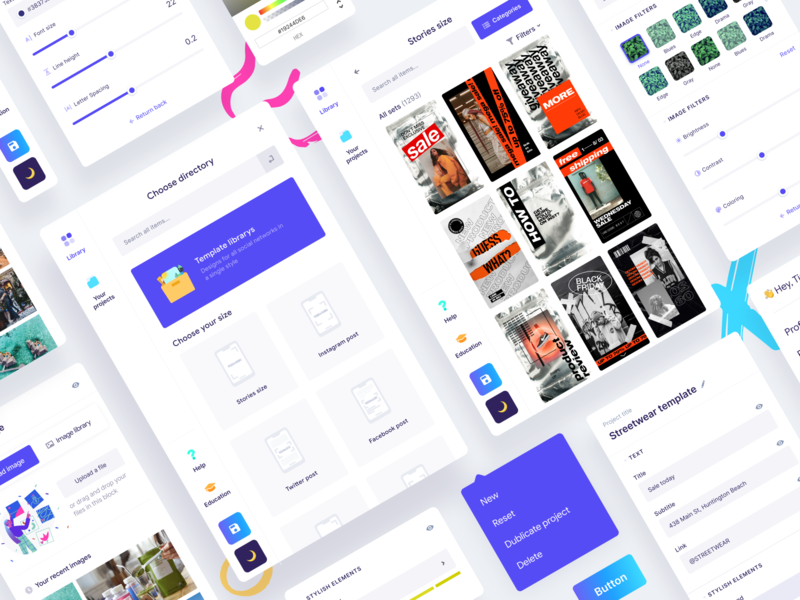 Elements of project interface for Teaser.Studio clean ui saas app saas webdesign ui ux product design product