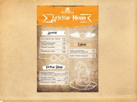 Menu in Harry Potter style