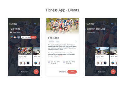 Fitness App -  Events concept fitbit ios app design interaction design adobe xd mobile app design mobile app tracking public event ui ux tracking event event detail search events event marketplace event