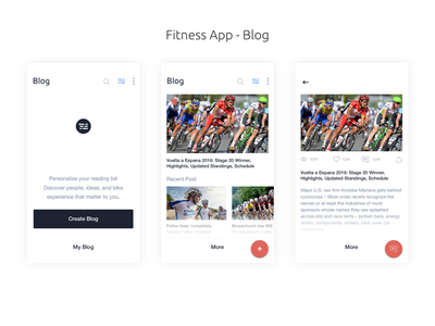 Fitness App  -  Blog tracking fitness app fitbit design app mobile app design interaction design user interaction ui ux blog concept design user experience design user interface design mobile app tracking blog blog detail blog listing my blog create blog mobile blog